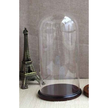 Protect Decoration Glass Dome With Wood Base